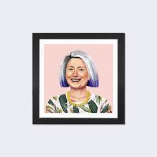 Hillary Clinton by Amit Shimoni Artwork on Fine Art Paper with Black Matte Hardwood Frame - 24