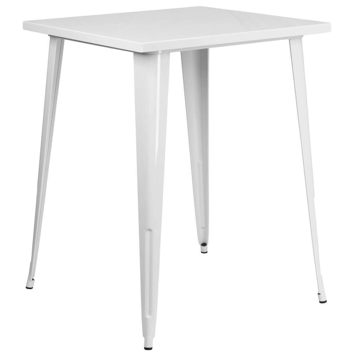 Product Ch 51040 40 Video Our 31 5 Square White Metal Indoor Outdoor Bar Height Table Is On