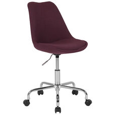 Aurora Series Mid-Back Purple Fabric Task Chair with Pneumatic Lift and Chrome Base