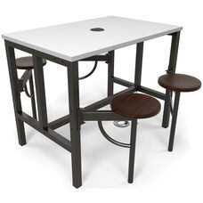 Endure Steel Frame Table with 4 Swivel Seats - Dry Erase White Table Top and Walnut Seats