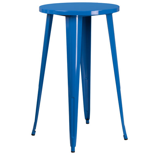"""Our Commercial Grade 24"""" Round Blue Metal Indoor-Outdoor Bar Height Table is on sale now."""