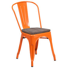 Orange Metal Stackable Chair with Wood Seat