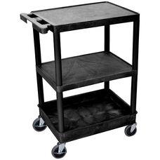Heavy Duty Multi-Purpose Mobile Utility Cart with 2 Flat Shelves and 1 Tub Shelf - Black - 24