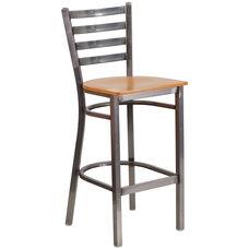 HERCULES Series Clear Coated Ladder Back Metal Restaurant Barstool - Natural Wood Seat