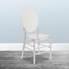 """Flash Elegance Crystal Ice Stacking Florence Chair with <span style=""""color:#0000CD;"""">Free </span> Cushion"""