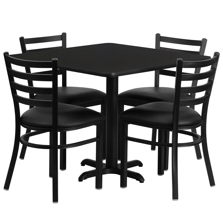36u0027u0027 Square Laminate Table Set with X-Base and 4 Ladder Back Metal Chairs  sc 1 st  Restaurant Furniture 4 Less & 36SQ BK Table-BK VYL Seat REST-004-BK-BK-TDR ...