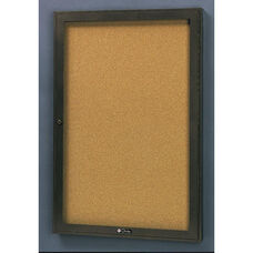 Rival Aluminum Frame Bulletin Board Cabinet with Tan Nucork Back Panel - 24