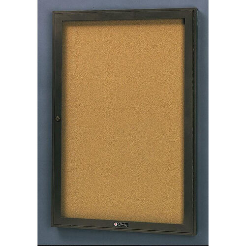 Our Rival Aluminum Frame Bulletin Board Cabinet with Tan Nucork Back Panel - 24