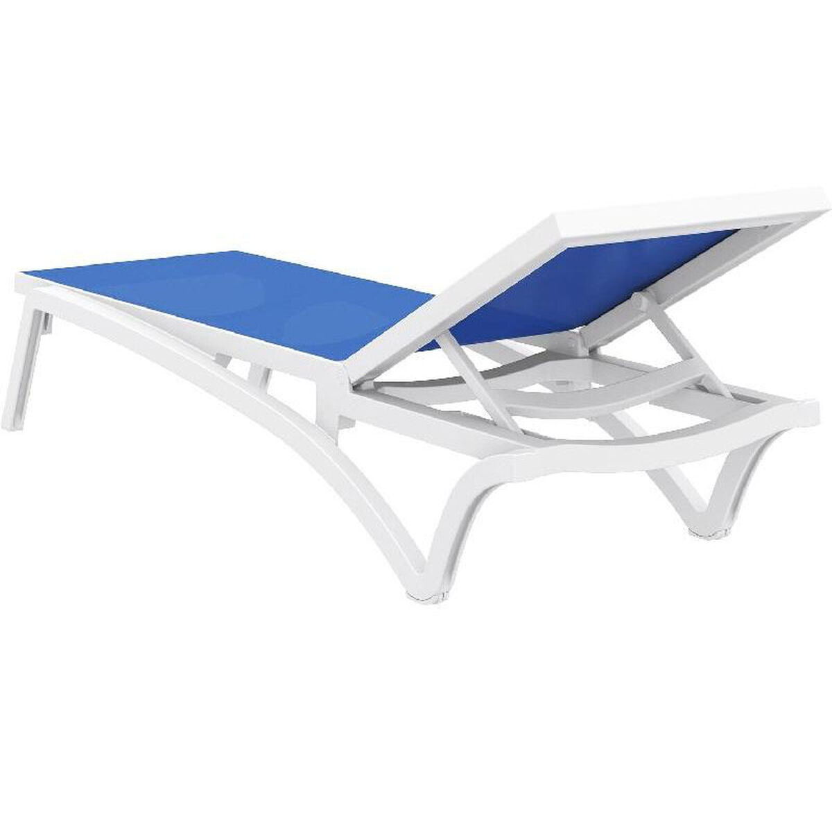 Pacific Resin Stackable Blue Mesh Sling Chaise Lounge With