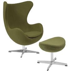 Grass Green Wool Fabric Egg Chair with Tilt-Lock Mechanism and Ottoman