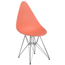 Allegra Series Teardrop Peach Plastic Chair with Chrome Base