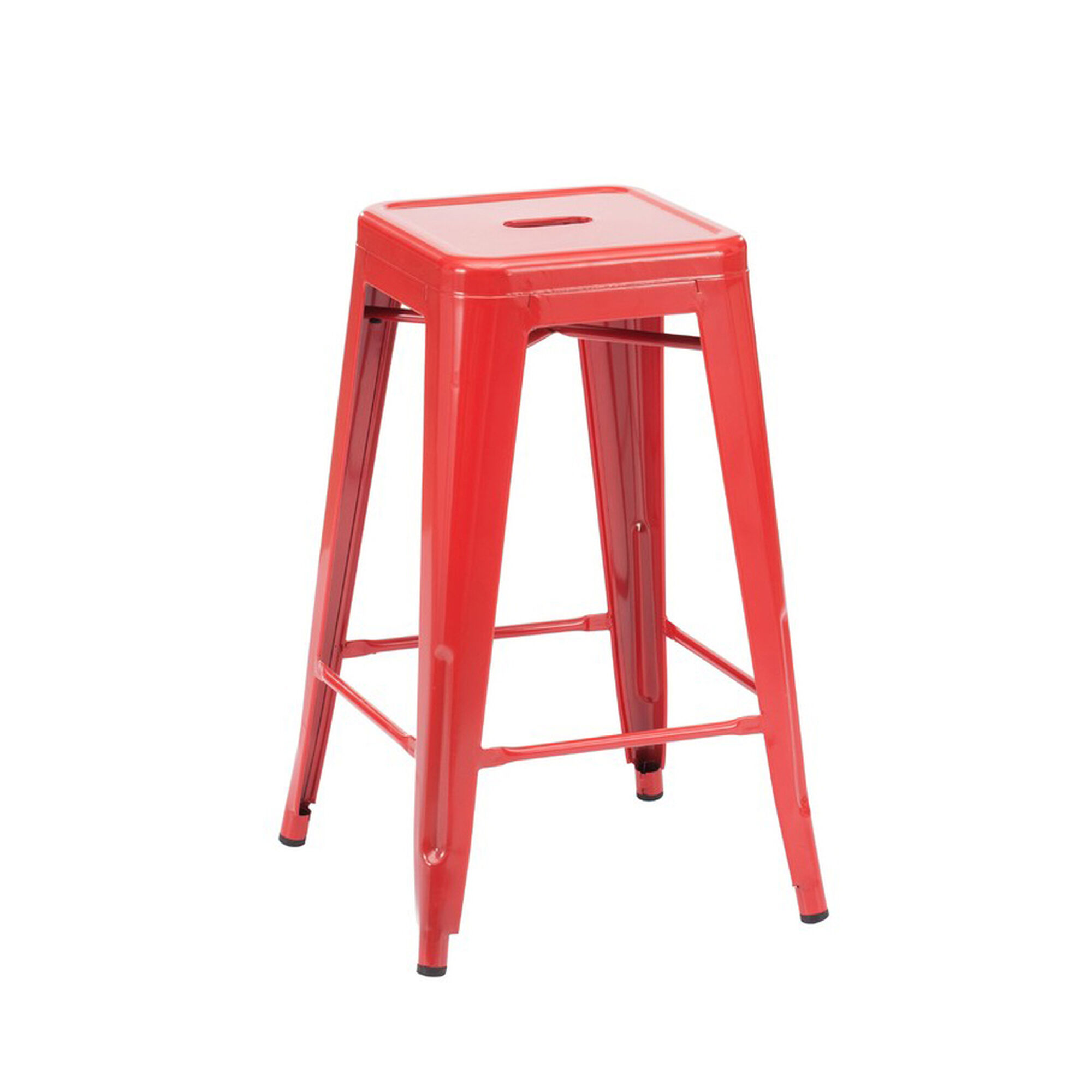 Our Dreux Glossy Red Steel Stackable Counter Stool Set