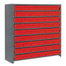 7 Shelf Closed Unit with 54 Bins - Red