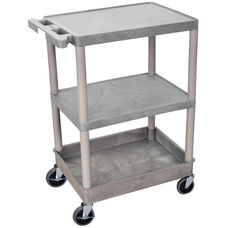 Heavy Duty Multi-Purpose Mobile Utility Cart with 2 Flat Shelves and 1 Tub Shelf - Gray - 24