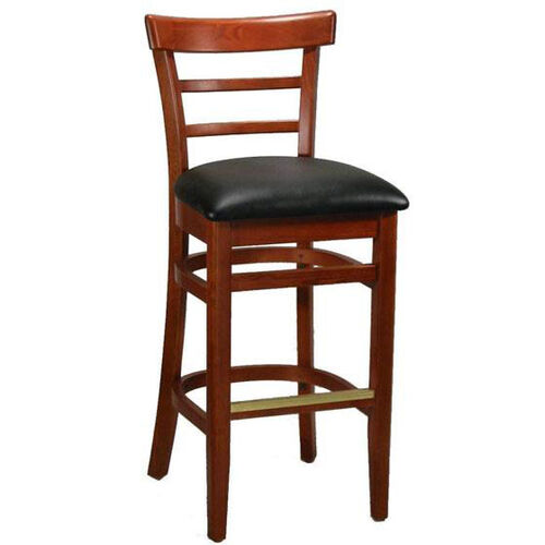 Ladder Back Barstool with Extended Edge - Black Vinyl Seat