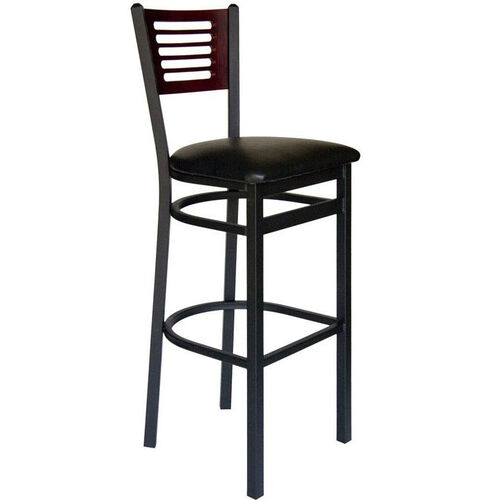 Espy Metal Frame Barstool - Slotted Wood Back and Vinyl Seat