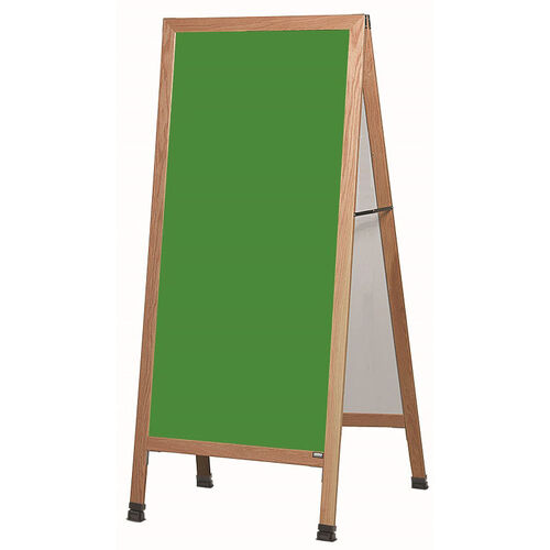Extra Large A-Frame Sidewalk Board with Green Composition Chalkboard and Clear Lacquer Finished Solid Red Oak Frame - 30