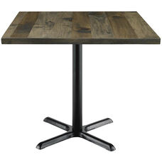 Urban Loft Collection 36'' Square Vintage Wood Top with Black Counter Height Table Base - Barnwood