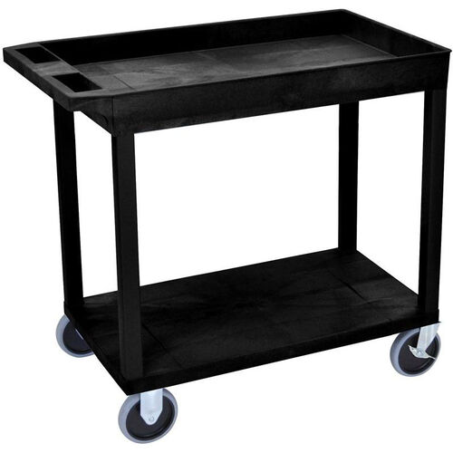 Our Heavy Duty Molded Thermoplastic Resin 1 Tub/1 Flat Shelf Utility Cart with 5