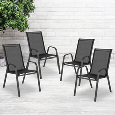 4 Pack Brazos Series Black Outdoor Stack Chair with Flex Comfort Material and Metal Frame