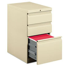 HON® Efficiencies Mobile Pedestal File with One File/Two Box Drawers - 19-7/8d - Putty