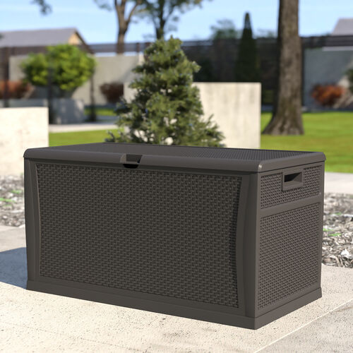120 Gallon Plastic Deck Box - Outdoor Waterproof Storage Box for Patio Cushions, Garden Tools and Pool Toys, Gray