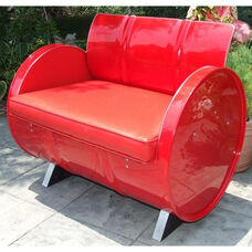 Very Red Steel Drum Armchair with Red Accents