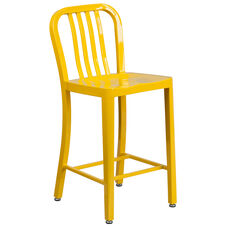 "Commercial Grade 24"" High Yellow Metal Indoor-Outdoor Counter Height Stool with Vertical Slat Back"