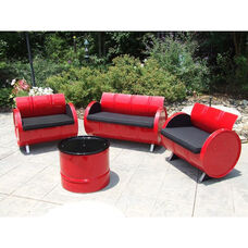 Red Loft Steel Drum 4 Piece Conversation Set with Black Accents