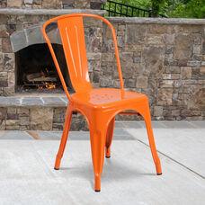 Commercial Grade Orange Metal Indoor-Outdoor Stackable Chair