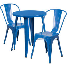 """Commercial Grade 24"""" Round Blue Metal Indoor-Outdoor Table Set with 2 Cafe Chairs"""