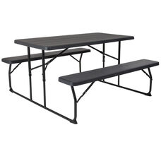 Insta-Fold Charcoal Wood Grain Folding Picnic Table and Benches