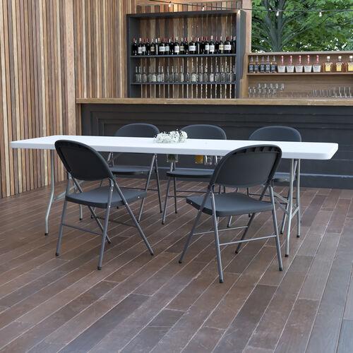 8-Foot Granite White Plastic Folding Table