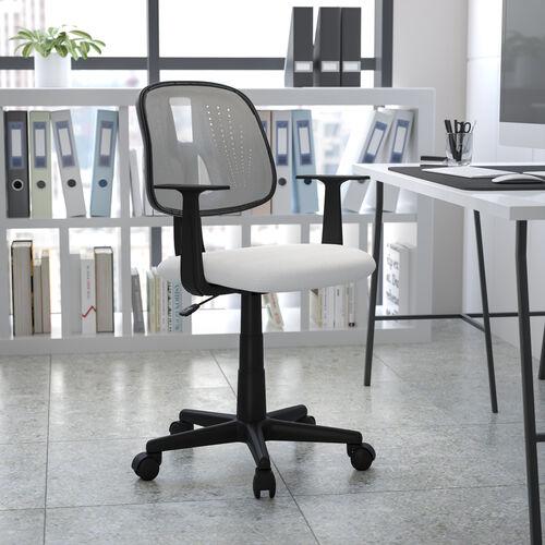 Basics Mid-Back Mesh Swivel Task Office Chair with Pivot Back, White, BIFMA Certified
