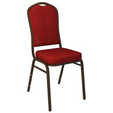 Embroidered Crown Back Banquet Chair in Culp Winslow Deep Red Fabric - Gold Vein Frame