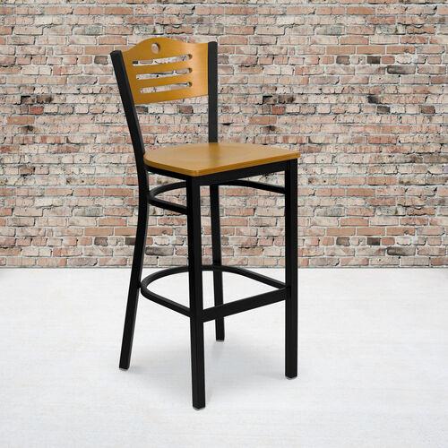 Black Slat Back Metal Restaurant Barstool with Natural Wood Back & Seat