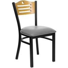 Black Slat Back Metal Restaurant Chair with Natural Wood Back & Custom Upholstered Seat