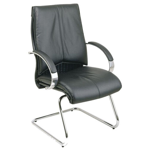Pro-Line II Deluxe Visitors Leather Chair with Chrome Base and Padded Arms - Black
