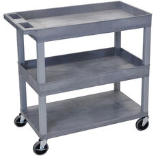 Molded Thermoplastic Resin 2 Tub/1 Flat Shelf Utility Cart with 4