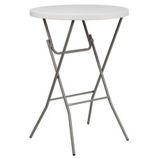 3-Foot Round Granite White Plastic Bar Height Folding Table