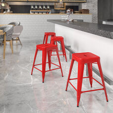 """Commercial Grade 24"""" High Backless Red Metal Indoor-Outdoor Counter Height Stool with Square Seat"""