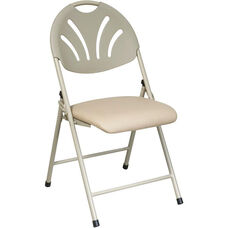 Work Smart Plastic Folding Chair with Fan Back and Padded Mesh Seat - Set of 4 - Beige