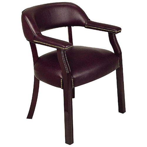 Our Work Smart Traditional Mahogany Guest Chair with Wrap-Around Back and Padded Armrests - Oxblood is on sale now.