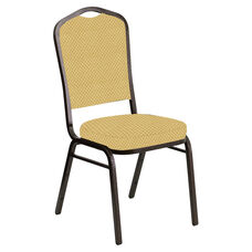 Embroidered Crown Back Banquet Chair in Canterbury Taupe Fabric - Gold Vein Frame