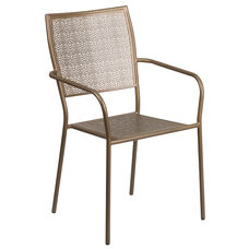 Gold Indoor Outdoor Steel Patio Arm Chair With Square Back