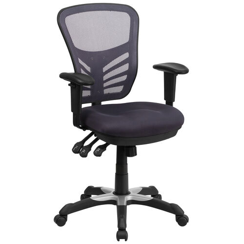 Mid-Back Dark Gray Mesh Multifunction Executive Swivel Chair with Adjustable Arms
