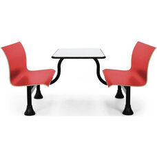 Retro Bench 24'' x 48'' Stainless Steel Top and Center Frame - Red Seats