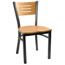 Natural Wood Back Metal Chair with 3 Slats in Back