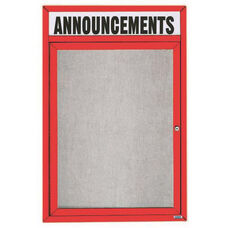 1 Door Outdoor Illuminated Enclosed Bulletin Board with Header and Red Powder Coated Aluminum Frame - 24