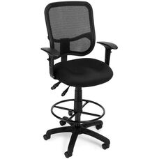 Mesh Comfort Ergonomic Task Chair with Arms and Drafting Kit - Black